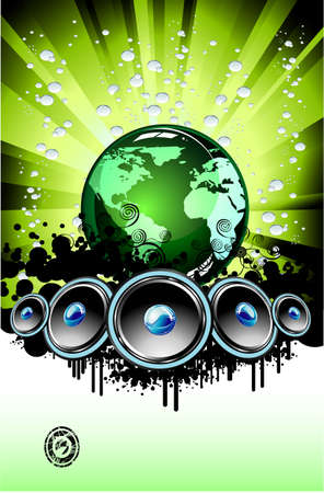 techno background: Music of the World background template Illustration