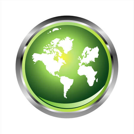 south east: Green Glossy World sphere with glossy effect
