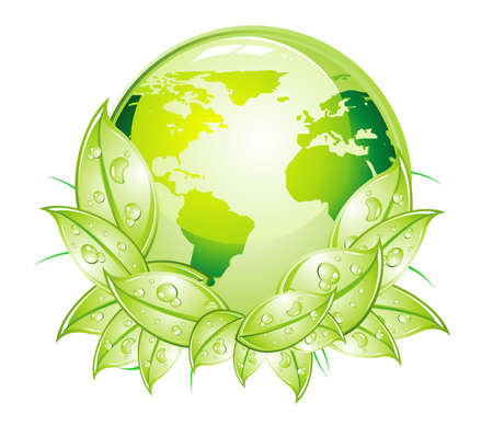depliant: Glossy World with green leaves background