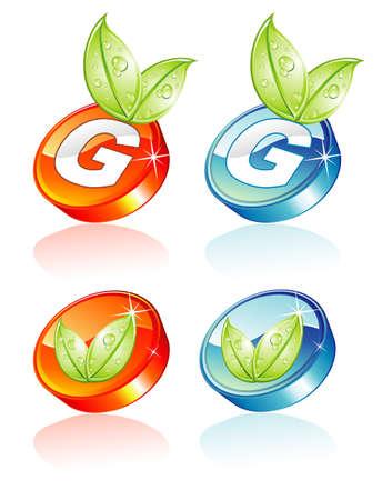 Résumé Le bouton vert avec effet glossy et de réflexion