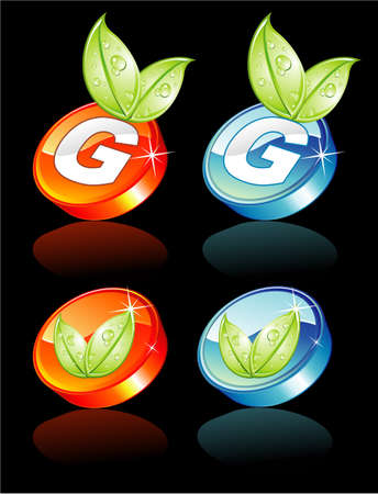 Abstract Green Button with glossy effect and reflection Illustration