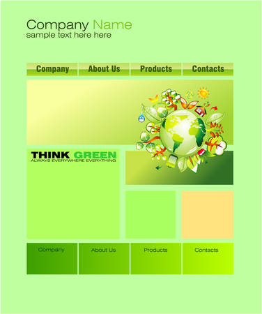 Environment Green Web Site Template Vector