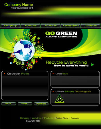 Original Green Based Website template with design elements Vector