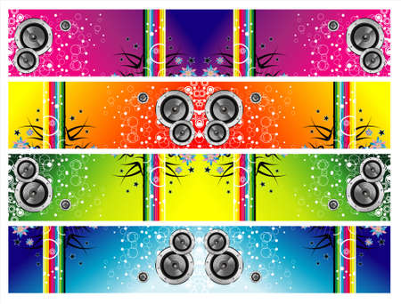 grunge music and rainbow colorful banners Vector
