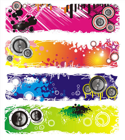 Colorful Grunge Style Music Banner Vector