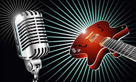 mic: Retro microfono e la musica di sottofondo di chitarra Vettoriali