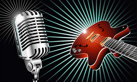 vintage mic: Retro microphone and guitar music background