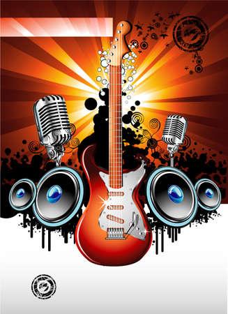 resonancia: Evento de m�sica de fondo con una colorida guitarra el�ctrica