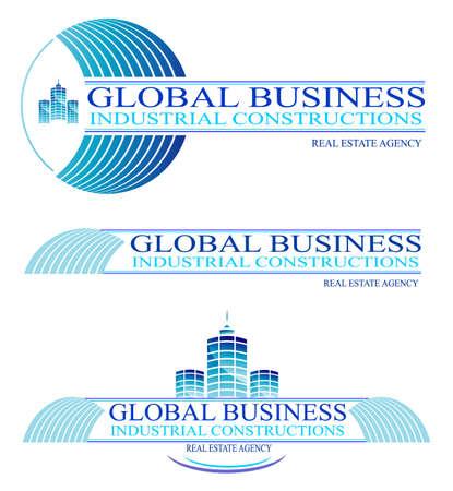 inspeccion: Global Business y construcciones dise�an elementos y s�mbolos.  Vectores