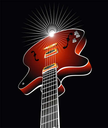 Retro guitar with colorful background Vector