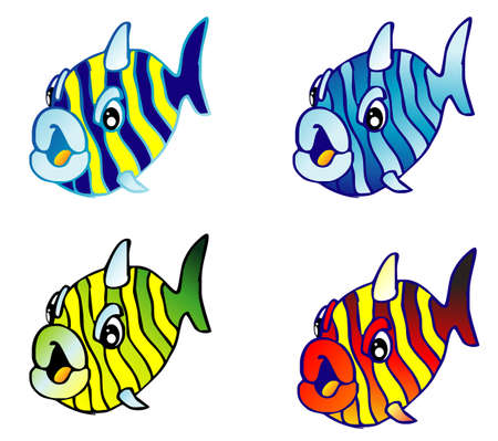A set of funny cartoon fishes Stock Vector - 4896930