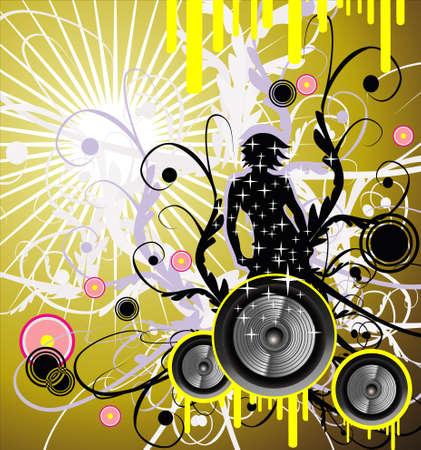 fantasy woman: Fantasy girl and music frame background   Illustration