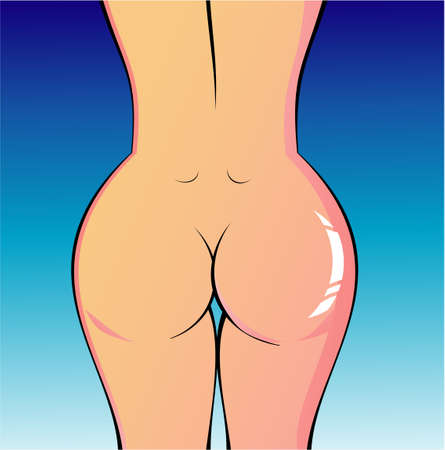 naked woman back: A perfect woman naked body illustration