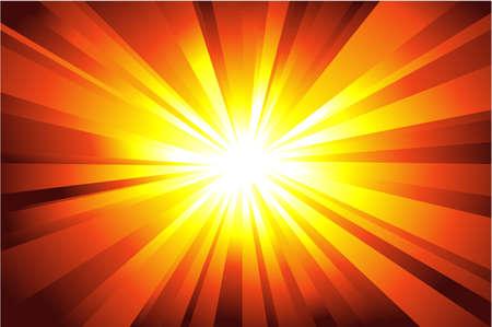Kleurrijke explosie van licht met casual stralen. Stock Illustratie