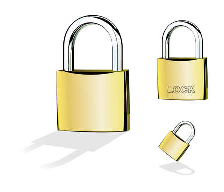 Chrome and gold Closed Padlock. Vector