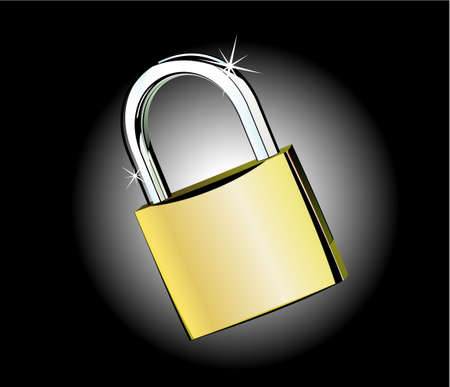 golden key: Chrome and gold Closed Padlock.