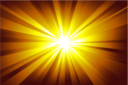 Colorful explosion of light with casual rays. Vector