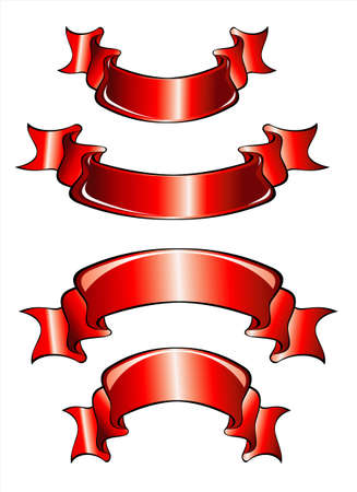 set of 4 red banners scrolls celebrate ribbons Stock Vector - 4896961