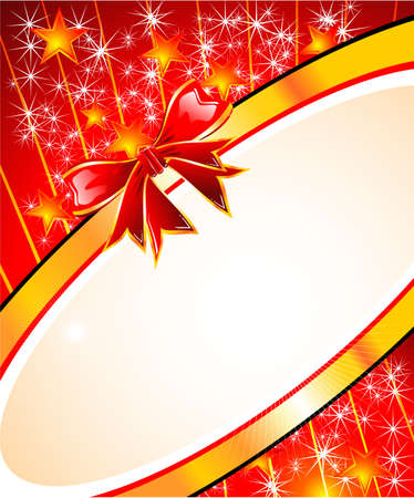 Fantasy Christmas Card With Red Ribbon Stock Vector - 4896988
