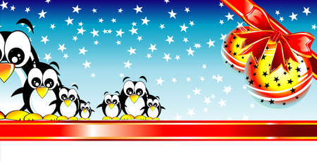 cip: Abstract Merry Christmas Card with balls and penguins