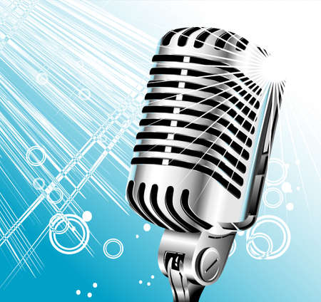 vintage retro singer microphone with abstract background     Vector
