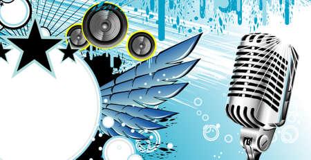elvis: Vintage microphone and music frame background