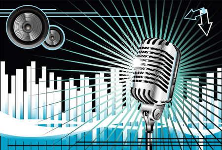 abstract music: Abstracte Music achtergrond met oude microfoon Stock Illustratie