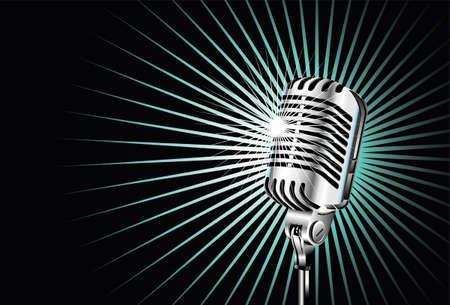 mic: Cromato vecchio microfono per la cantante Vettoriali