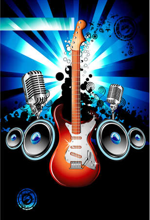 accords: Music Event Background with a colorful Electric Guitar