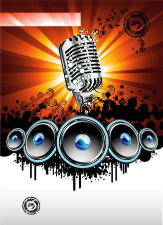 abstract music: Samenvatting Muziek achtergrond voor discoteque nacht evenement Stock Illustratie