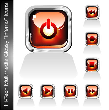 Deep Red Glossy Multimedia Player Icons set Vector
