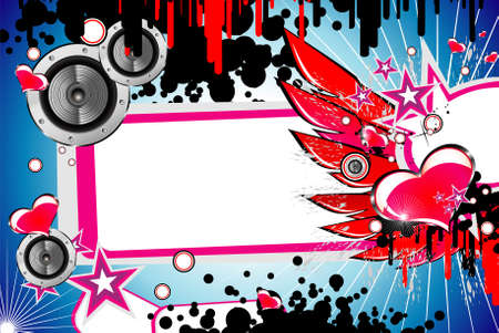 Grunge Style music and love background Vector