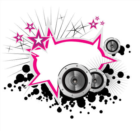 Abstract Music speakers frame grunge style Vector