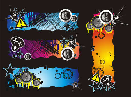 clipart speaker: Colorful Grunge Style Music Banner