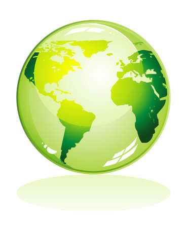 mainland: Green Glossy earth icon with shadow
