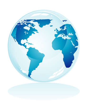 blue earth: Glossy delicate blue earth icon to use like background Illustration