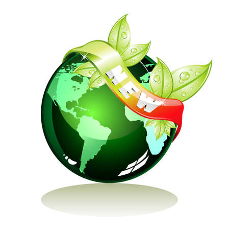 Glossy Green World with New tag and leaves. Vector