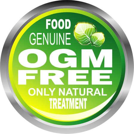 Ogm free natural genuine food emblem Illustration