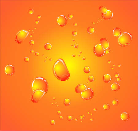 water surface: Orange glossy bubbles close up background Illustration