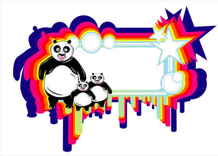 Cartoon Style Panda Frame background with abstract design elements Vector