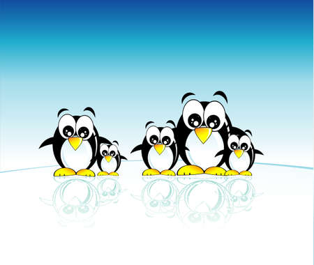 cip: Funny family of penguins and south pole Illustration