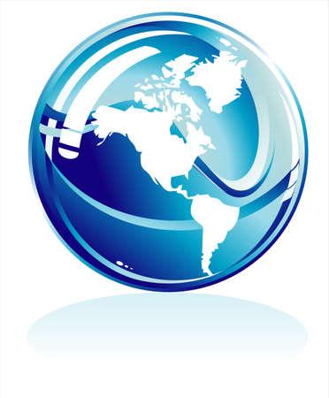 geodesy: Blue world sphere USA side