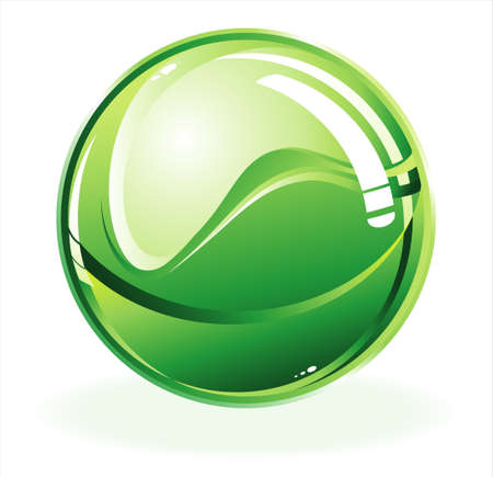 three dimensional: three dimensional green glossy sphere     Illustration
