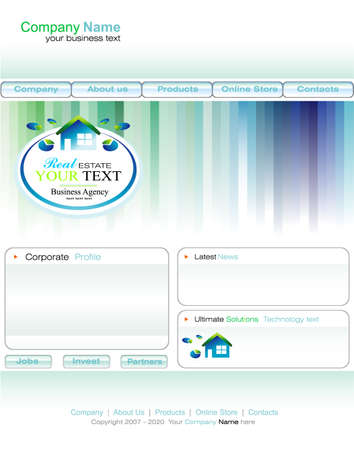 Delicate Real Estate Business web site template with colorful design elements Vector