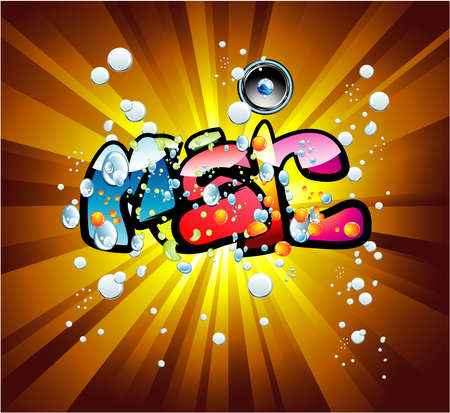 Abstract Colorful bubbles and music text background Vector