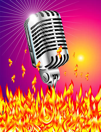 Retro microphone burining in the flames Stock Vector - 4897287