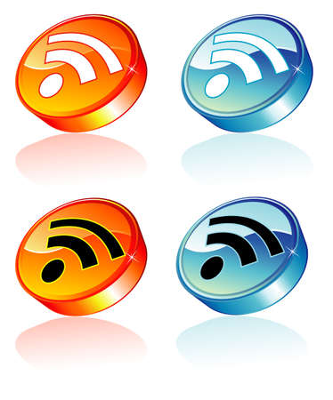 Rss feed colorful and glossy button with reflection Vector