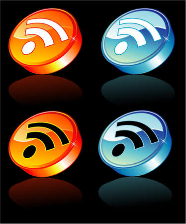 syndication: Rss feed colorful and glossy button with reflection