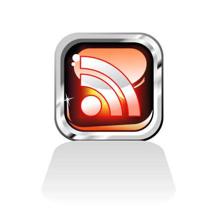 syndication: Rojo brillante RSS Feed Icon Vectores