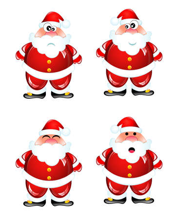 Funny Santa Humor Glossy icon set with various face expression Stock Vector - 4897190